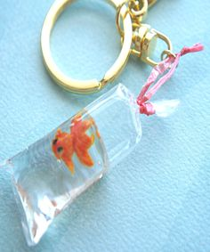 goldfish in a bag keychain/ bag charm - Jillicious charms and accessories Biscuit, Bottle Charms, Bottle Necklace, Fish In A Bag, Mini Craft, Mini Things, Random Things, Cute Charms, Polymer Clay Charms