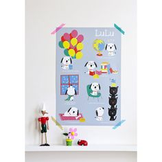 Décoration murale pour les chambres d'enfants : poster Lulu de Marion Piffaretti pour Poisson Bulle