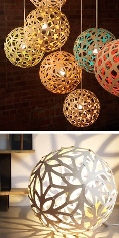 Nature inspired pendant lamps / david trubridge so cool! Love the blue one! Light Art, Lamp Light, Cool Lighting, Lighting Design, Laser Cut Lamps, Lights Fantastic, Lumiere Led, Paper Lanterns, Lighting Solutions