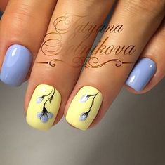 Soft yellow & periwinkle. Like simple flower too.