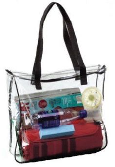 Clear Tote Bag with Black Handles. Clear Tote Bag in Crystal Clear PVC with Black Trim. Measures x x Top zipper closure - Shoulder length straps. Suitable for corrections, casinos, retail, etc. Meets employer guidelines for clear bags. Clear Tote Bags, Clear Plastic Bags, Clear Handbags, Best Handbags, So Creative, Elite Socks, You Bag, 3 D, Diaper Bag