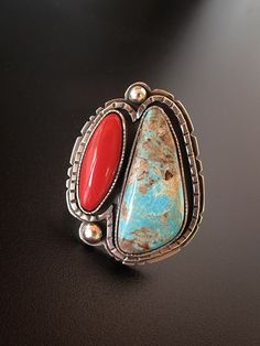 Richard Salley: sterling silver, rosarita, and turquoise.  /Love this, almost looks like mine EL./