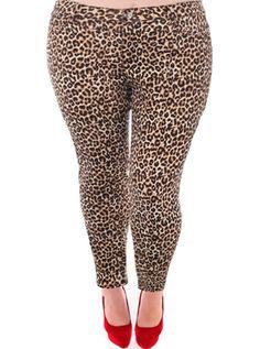 Plus Size Leopard Print Skinny Jeans