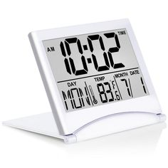Betus Digital Travel Alarm Clock - Foldable Calendar & Temperature & Timer LCD Clock with Snooze Mode - Large Number Display, Battery Operated - Compact Desk Clock for All Ages (Silver) Travel Alarm Clock, Radio Alarm Clock, Radios, Small Clock, Projection Alarm Clock, Digital Projection, Clock Display, Button Cell, Desk Clock