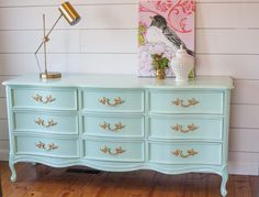 French Provincial Dresser in Mint - DIY Furniture Couch Ideen Painted Bedroom Furniture, Refurbished Furniture, Furniture Makeover, Diy Furniture, Furniture Stores, Furniture Design, Furniture Companies, Dresser Makeovers, Furniture Cleaning
