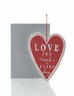 Hanging Keepsake Heart Valentine's Day Card-Marks & Spencer