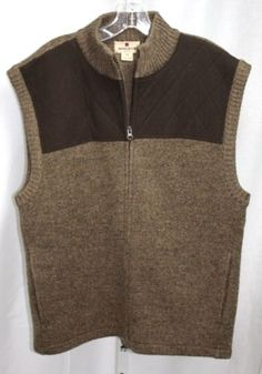 Woolrich-Mens-100-Wool-Zip-Front-Sleeveless-Brown-Knit-Sweater-Vest-Size-Large