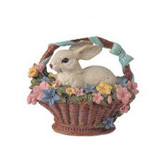 Easter Bunny Rabbit in Decorative Floral Basket Spring Decoration