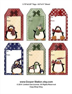 Digital Printable Gift Tags With Penguins