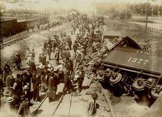 ca. 1899, [photograph of a train derailment outside of Santa Clara, California]  via the Online Archives of California, San Jose Public Library, California Room