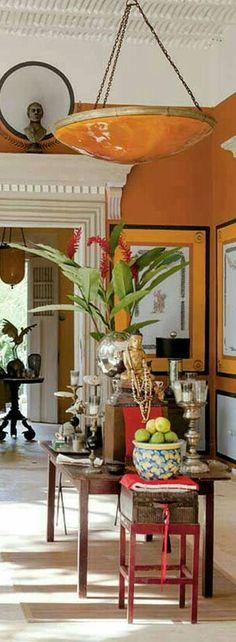 Orange Home Decor, Orange House, Oversized Mirror, Traditional, Furniture, World, Houses, Home Furnishings, Arredamento