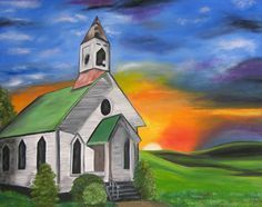 how to paint a church scene in acrylics - Google Search