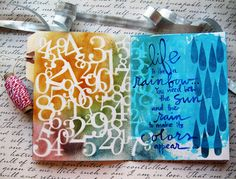 "Mou Saha -- beautiful calligraphy on this page!  Uses the Balzer Designs ""Rain"" stencil."