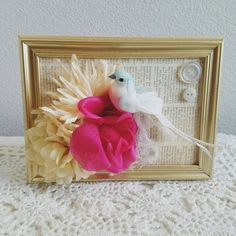 Pink Roses Gold Frame Roses Bird Frame by ShabbyChicJCouture