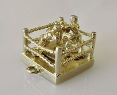 1955 - 9ct Gold Moving Mechanical Boxers In Ring Charm