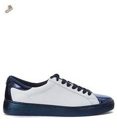 Michael Michael Kors Women's Sneaker Michael Kors Frankie In Pelle Bianca E Blu 38(IT)-8(US) White - Michael kors sneakers for women (*Amazon Partner-Link)