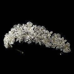 Elegance by Carbonneau Silver Clear Rhinestone & Swarovski Crystal Bead Floral Tiara Headpiece 9687 Bridal Tiara, Bridal Headpieces, Bridal Headdress, Wedding Tiaras, Wedding Crowns, Wedding Veils, Wedding Dresses, Swarovski Crystal Beads, Tiaras And Crowns