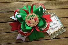 Gingerbread hair bow   READY TO SHIP  Christmas hair bow