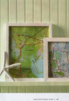 Framed maps from Martha Stewart Living magazine