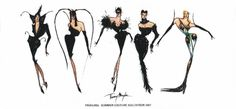 """Sketches of the """"Les Insectes"""" S/S 1997 Haute Couture collection by Thierry Mugler"""