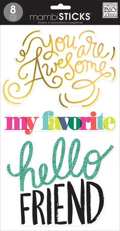 "Our BIG sticker packs come with 8 clear stickers sheets that measure 7"" x 12"" and feature glitter and foil specialty treatments. These inspirational stickers are perfect for journals, craft projects,"