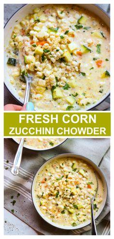 Summer corn chowder with zucchini. It's incredibly delicious and so easy to make! #cornchowder #cornzucchinichowder #chowderrecipe #cornsoup #summersoup #cornrecipes Veggie Soup Recipes, Vegetarian Recipes, Cooking Recipes, Healthy Recipes, Recipes With Zucchini, Corn Recipes, Recipies, Summer Corn Chowder, Vegan Corn Chowder