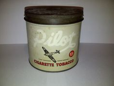 Rare Pilot Tobacco Tin Can Canada MacDonald Spitfire WW2 Plane WWII Montreal