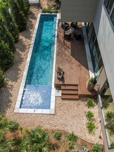 The use of a small lap pool helps break up the back yard and the colours used on house and garden design.[Original:Lap pool for a small yard]