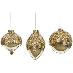Amara Small Glass Pearl Christmas Bauble - Set of 3 - Gold (59 CAD) ❤ liked on Polyvore featuring home, home decor, holiday decorations, metallic, gold home decor, glass home decor and gold home accessories