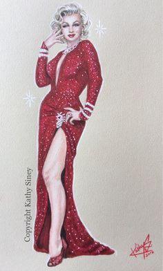 Marilyn Monroe in coloured pencil
