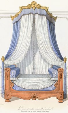 Castle Bedroom, Home Bedroom, Bedroom Decor, Doll Furniture, Painted Furniture, Curtain Drawing, No Sew Curtains, Interior Design Sketches, Ottoman Bed