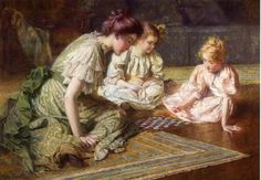 Mother and Daughters Playing Chess  Francis Coates Jones