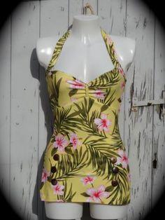 1950s-Pin-Up-Girl-Yellow-Hibiscus-Swimming-Costume-10-12-14-16-18-Retro-Swimsuit