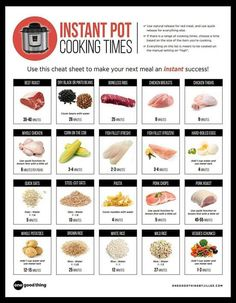 Instant Pot #cooking Time Sheet