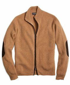 Camel Hair Full-Zip Cardigan - Brooks Brothers