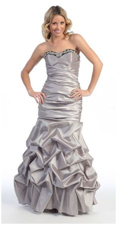 Full Length Gray Special Occasion Gown Strapless Pickup Skirt Ruche  $165.99
