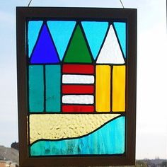Stained Glass Panel - Beach Huts by the Sea £50.00