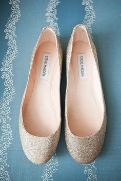 Steve Madden, Sequined Wedding Flats I& decided heels aren& worth it for all the standing ill be doing! Low Heel Shoes, Low Heels, Wedge Shoes, Flat Shoes, Wedge Wedding Shoes, Bridal Shoes, Bridesmaid Shoes Flat, Wedding Flats For Bride, Gold Wedding Shoes