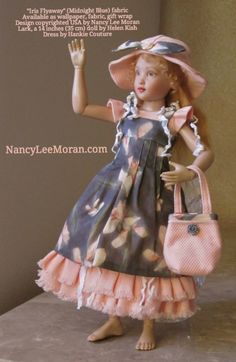 """Lark, a 14 inches (35 cm) doll by Helen Kish, wears a dress created by Hankie Couture in 2014 from """"Iris Flyaway"""" (Midnight Blue) fabric by Nancy Lee Moran. ♡ http://www.spoonflower.com/fabric/2212969 ♡ Photo and fabric design copyrighted by Nancy Lee Moran #Spoonflower #fabric #design #Kish #Lark #Hankiecouture"""