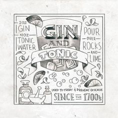 Nevels Creative - Gin & Tonic Printable Cocktail Posters Series Hand Lettering Illustration