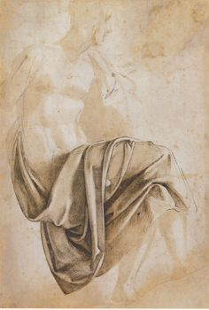 Michelangelo Buonarroti, Study for the drapery of the Erythraean Sibyl, seated to right with legs crossed, 1508-1512. Brown wash and pen and dark brown ink over a black chalk under-drawing, 38.4 x 28.9cm. British Museum, London.