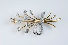 18K diamond spray brooch and pendant door RetroFrenchJewelry op Etsy
