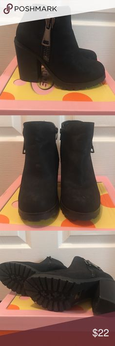 Soda Black Booties Not actually Steve Madden. Worn a few times. They are a soft suede like material. Bought from Tilly's. Run a little big and would fit a 6.5 better than a 6. Accepting offers!! Steve Madden Shoes Ankle Boots & Booties