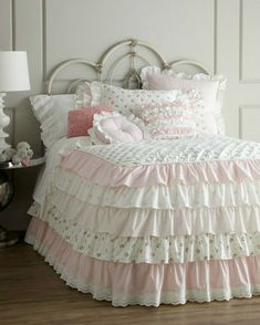 ruffles plus pink gingham and lace shabby chic bedding set