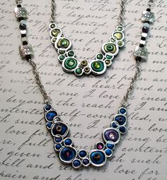 Bubble Necklaces Polymer clay and Crystals by MandarinMoon, via Flickr