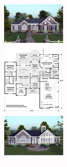 House Plan 74811 - Craftsman, Ranch Style House Plan with 2000 Sq Ft, 3 Bed, 4 Bath, 3 Car Garage House Plans One Story, New House Plans, Dream House Plans, House Floor Plans, Basement House Plans, Ranch House Plans, Craftsman House Plans, Craftsman Ranch, Craftsman Interior