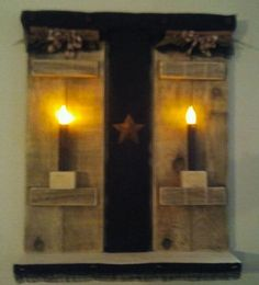 "PRIMITIVE SHUTTER WALL DECOR WITH BATTERY LIGHTS, RUSTIC STAR, BLACK BURLAP, CINNAMON STICKS, HOMESPUN BOWS, SWEET ANNIE 2FT HIGH X 18"" WIDE X 5"" SHELF WIDE ""BEAUTIFUL"" $50.00"