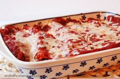 Chicken Enchiladas with Red Sauce and White Cheese- Costco Chicken