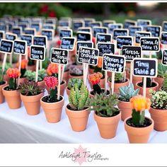 """""""En Estados Unidos muchas veces usan """"escort cards"""", para indicar a los invitados su mesa. Me encantan estos mini cactus, es super original y sirve también…"""""""