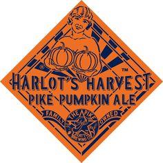 Cerveja Pike Harlot's Harvest Pumpkin Ale, estilo Pumpkin Ale, produzida por Pike Brewing, Estados Unidos. 8.5% ABV de álcool.